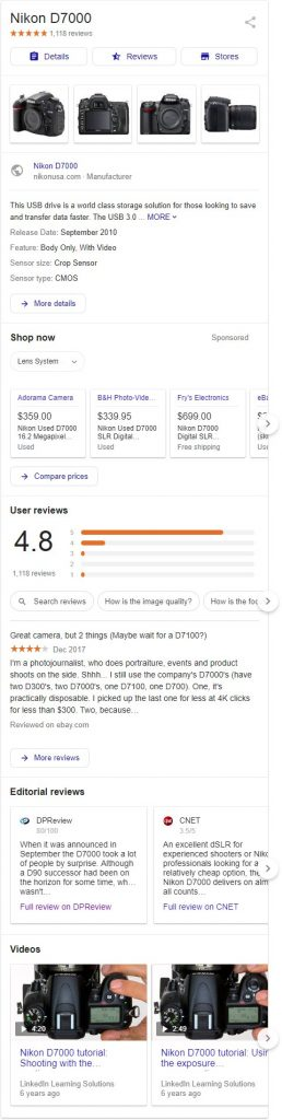 google kp pla 1 258x1024 - Google Testing Large Product Knowledge Panel With Paid & Organic Features