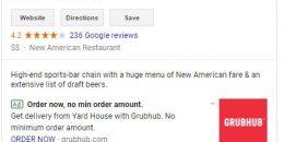 Google Adds GrubHub & DoorDash Ads to Local Knowledge Panel