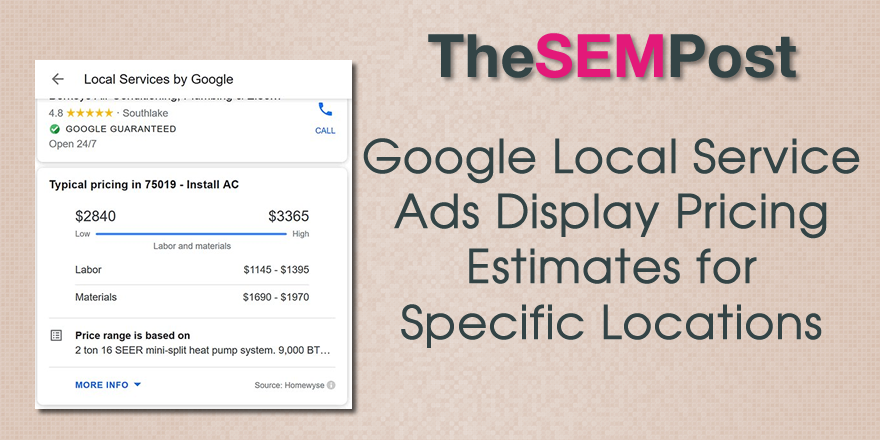 Google Local Service Ads Display Pricing Estimates for Specific Locations | TheSEMPost